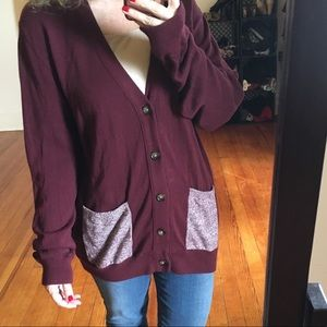 Urban Outfitters UO Your Neighbors Burgundy Cardi